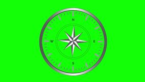 Vind steg kompasset med snurrpekare på den gröna skärmen 4K vektor illustrationer