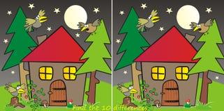 Huis in bos-10 verschillen Stock Afbeelding