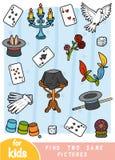 Vind twee dezelfde beelden, spel voor kinderen Kleurenreeks tovenaarpunten royalty-vrije illustratie