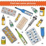 Vind twee zelfde beelden Medische kleurenreeks vector illustratie