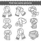 Vind twee zelfde beelden, reeks gebreide sjaals royalty-vrije illustratie