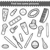 Vind twee zelfde beelden Reeks van de schoonheids de zwart-witte kleur vector illustratie