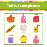 Vind twee zelfde beelden Taak voor jonge geitjes Onderwijs die aantekenvel ontwikkelen Activiteitenpagina Spel voor kinderen Grap vector illustratie