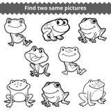 Vind twee zelfde beelden Vector zwart-witte reeks kikkers royalty-vrije illustratie