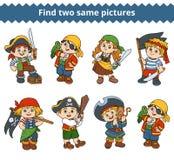 Vind twee zelfde beelden Vectorkarakters van piraten stock illustratie