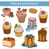 Vind twee zelfde beelden Vectorkleurenreeks cakes en cupcakes Stock Fotografie