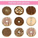 Vind twee zelfde beelden Vectorkleurenreeks donuts stock illustratie