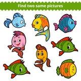 Vind twee zelfde beelden Vectorkleurenreeks vissen stock illustratie