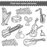Vind twee zelfde beelden Vectorreeks muzikale instrumenten royalty-vrije illustratie