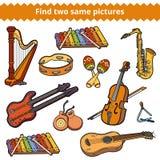 Vind twee zelfde beelden Vectorreeks muzikale instrumenten stock illustratie