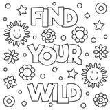 Vind uw wildernis Kleurende pagina Vector illustratie Stock Foto