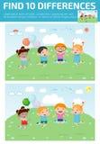Vind verschil, Spel voor jonge geitje, vinden verschil, Hersenen spel, kind spel, Royalty-vrije Illustratie