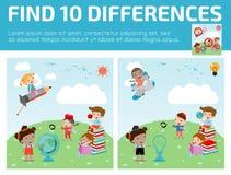 Vind verschil, Spel voor jonge geitje, vinden verschil, Hersenen spel, kind spel, Stock Foto