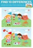 Vind verschil, Spel voor jonge geitje, vinden verschil, Hersenen spel, kind spel, Royalty-vrije Stock Fotografie