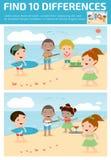 Vind verschil, Spel voor jonge geitje, vinden verschil, Hersenen spel, kind spel, Stock Fotografie