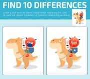 Vind verschil, Spel voor jonge geitje, vinden verschil, Hersenen spel, kind spel, Onderwijs Spel voor Peuter Kind, Vector Illus Royalty-vrije Stock Foto