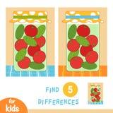 Vind verschillen, onderwijsspel, Kruik van groenten in het zuur vector illustratie