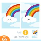 Vind verschillen, onderwijsspel, Regenboog en wolken in de blauwe hemel royalty-vrije illustratie