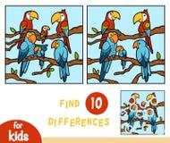 Vind verschillen, onderwijsspel voor kinderen, Papegaaien vector illustratie