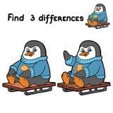 Vind 3 verschillen (pinguïn) Royalty-vrije Stock Fotografie