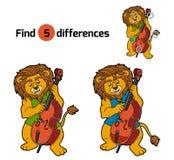 Vind verschillen, spel voor kinderen (leeuw en cello) vector illustratie