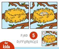 Vind verschillen, spel voor kinderen, nest royalty-vrije illustratie