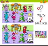 Vind verschillenspel met de karakters van de robotsfantasie vector illustratie