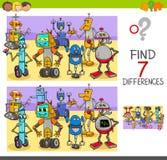 Vind verschillenspel met robotkarakters stock illustratie