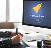 Vinda conceito logo de abertura do anúncio da promoção foto de stock