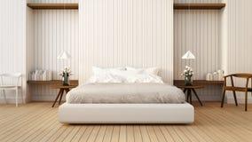 Vinden och det moderna sovrummet i vit/3D framför bild Arkivbild