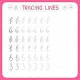 Vindende lijnen Aantekenvel voor jonge geitjes Vind het patroon Het fundamentele schrijven Kleuterschool of kleuterschoolaanteken vector illustratie