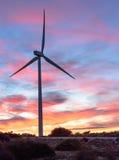 Vindenergi parkerar på solnedgång II Arkivbild