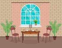 Vindinredesign Vardagsrum med tegelstenväggen, tabellen, stolar, varmt kaffe och efterrätten, lampa, fönster med bågen stock illustrationer