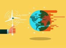 Vindkraft gör jorden kyler begreppsuniversitetsläraren glömmer global värme för green t Arkivfoton