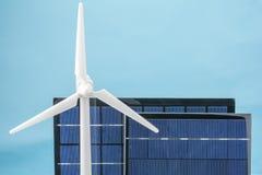 Vindkraft och solpanel Fotografering för Bildbyråer
