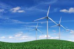 Vindkraftväxter i fältet på en himmelbakgrund royaltyfri bild
