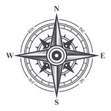 Vindros- eller kompasssymbol på vit bakgrund vektor stock illustrationer