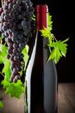 Vindruvor och vin på en träbakgrund arkivbilder
