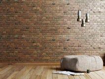 Vindstilvardagsrum med den beigea tygottomanen, den rostfria lampan och tidskriften på tom röd väggbakgrund för tegelsten stock illustrationer