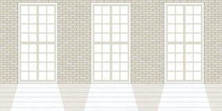 Vindstudioinre Stora fönster, vit tegelstenvägg royaltyfri illustrationer