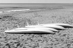 Vindsurfar tabeller på sanden Fotografering för Bildbyråer