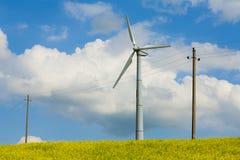 Vindturbin som fotograferas på nära område, propellervindturbin royaltyfria bilder