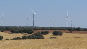 Vindturbiner i öknen av Spanien stock video