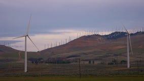 Vindturbiner som rotera på solnedgången i Mohave Kalifornien lager videofilmer