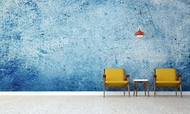 Vindvardagsrumstolarna och vardagsruminredesignen och blåttväggen mönstrar bakgrund Arkivfoto