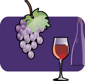 Vine. Wine glass and vine, vector illustration Stock Photography