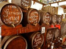 Vine barrels on the spaine market Royalty Free Stock Images