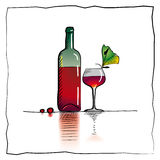 Vine bottle and goblet sketch. A hand-drawn sketch of a bottle of red wine and a goblet next to it Royalty Free Illustration