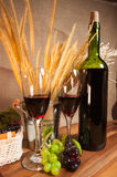 Vine bottle ready for drink with grape fruit with ring engage. On the wood table Stock Images