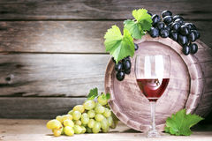 Vine. Bottle of vine on  wooden background Stock Photo